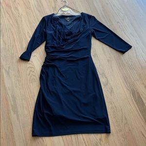 Navy/midnight blue fitted bodycon dress. 8